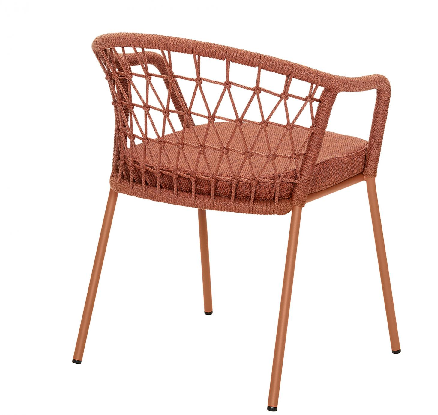 Garden chair covered in red woven cord