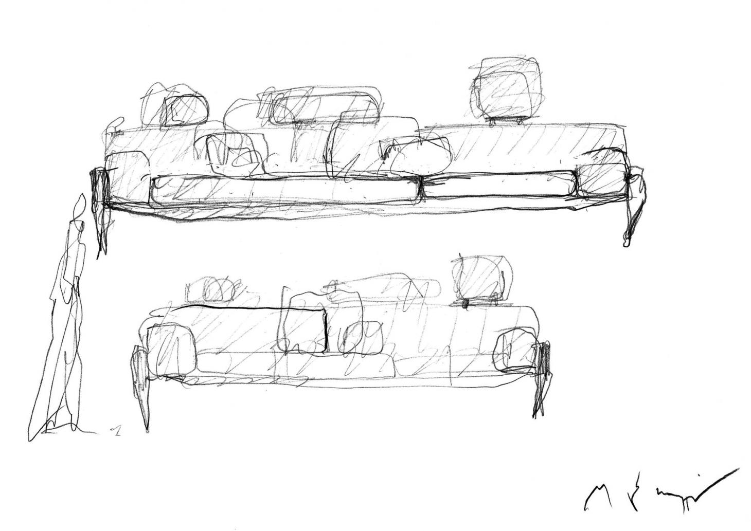 A black and white pencil sketch by Michele De Lucchi representing his Float sofa for Stellar Works in two different compositions