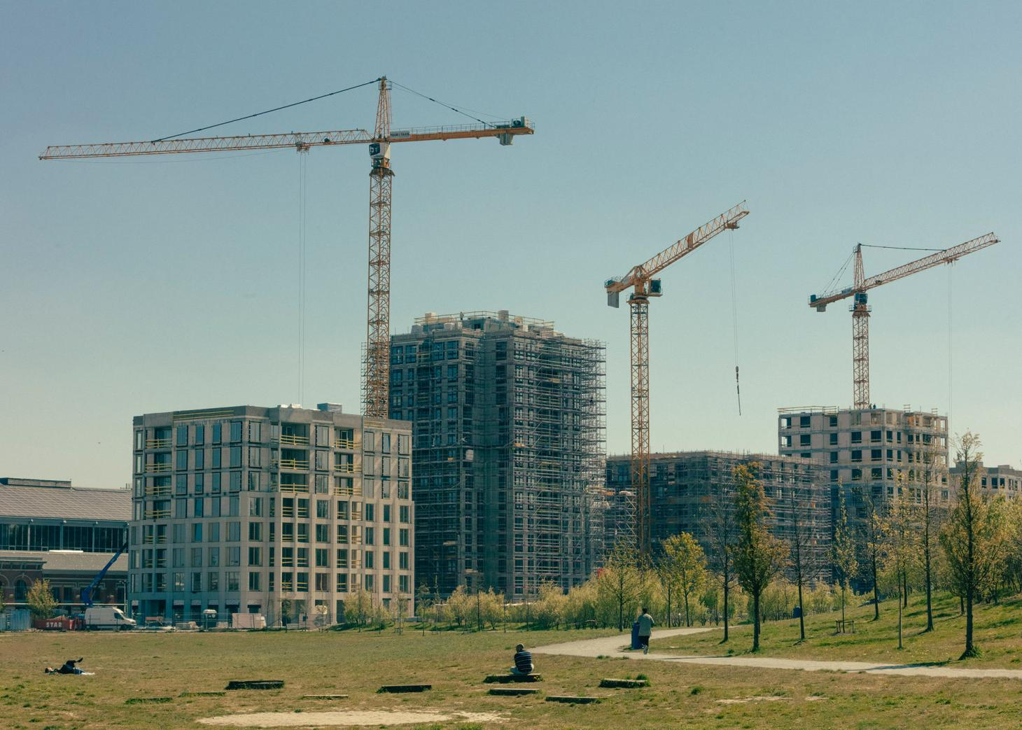 view of new buildings being built at Tour & Taxis district in Brussels