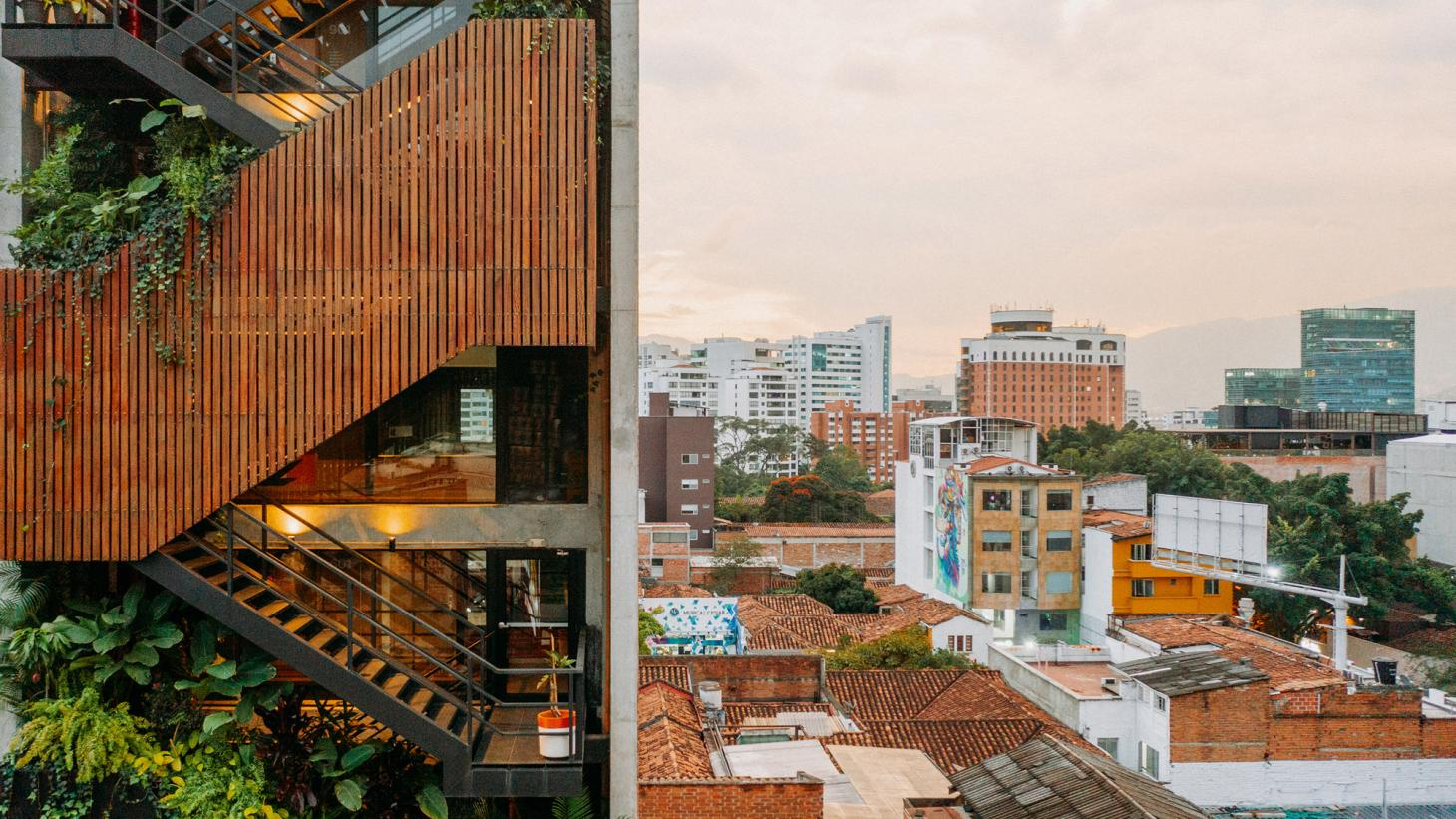 view of Medellin and its new green architecture
