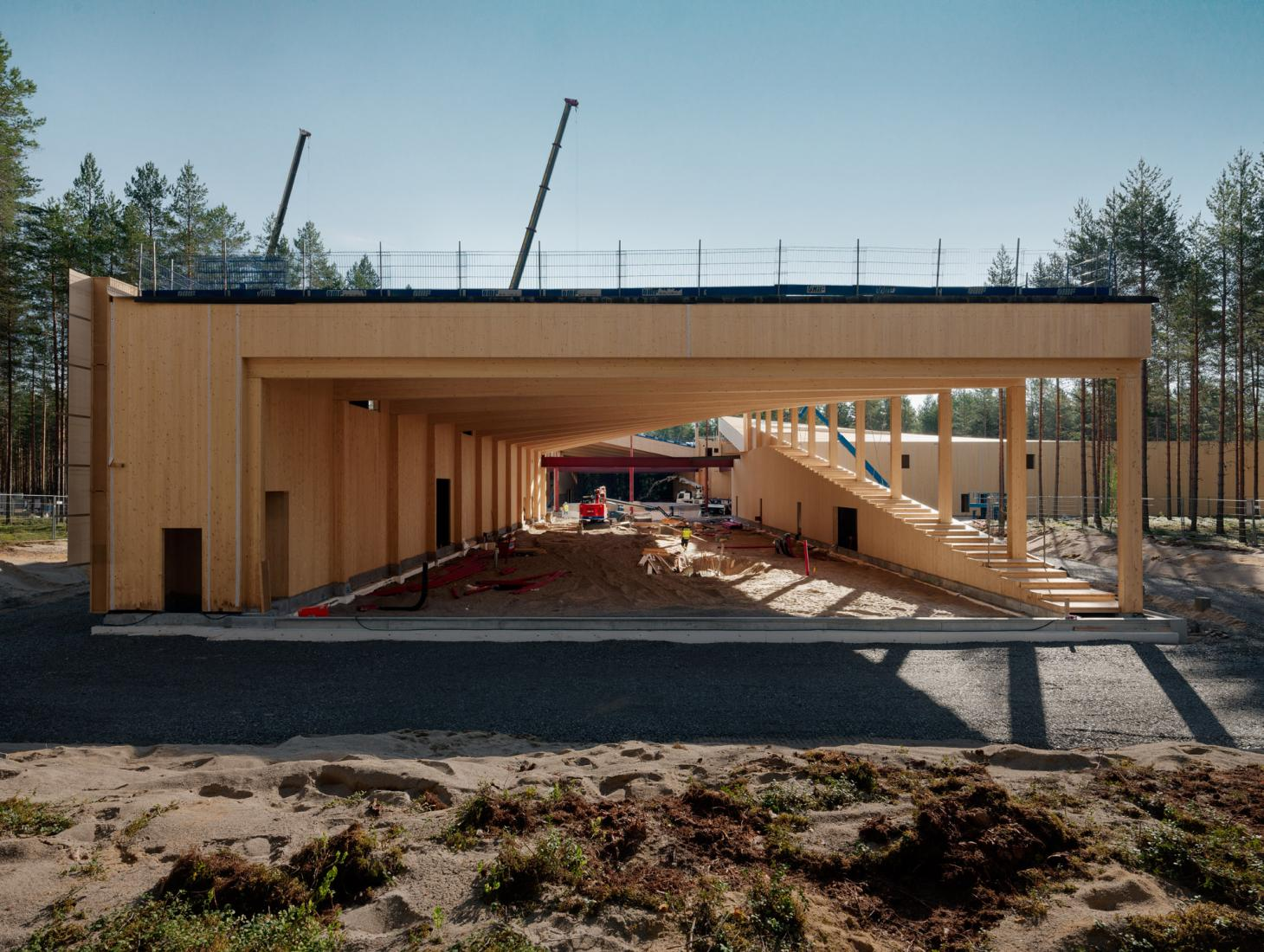 the timber frame of the world's most sustainable factory, according to BIG