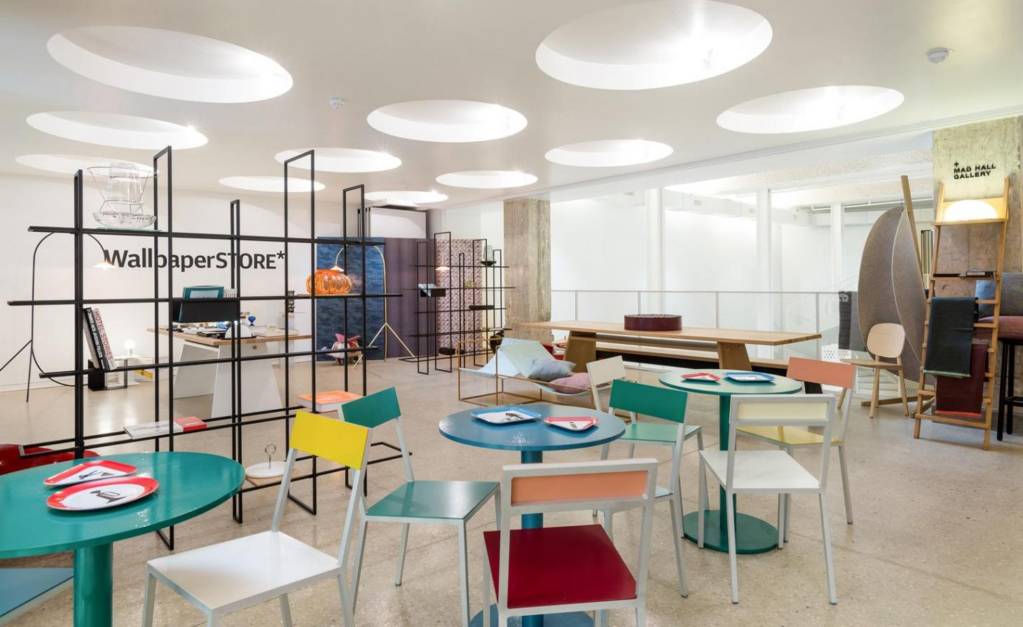 Tables and chairs by Muller Van Severen at the WallpaperSTORE* pop-up at the MAD Museum