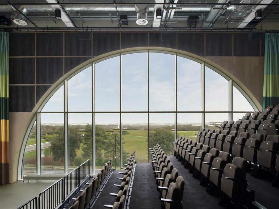 Interior of seating area in MK gallery looking out of the large circular window