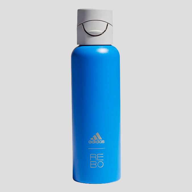 rebo and adidas water bottle in blue with drinking tracker