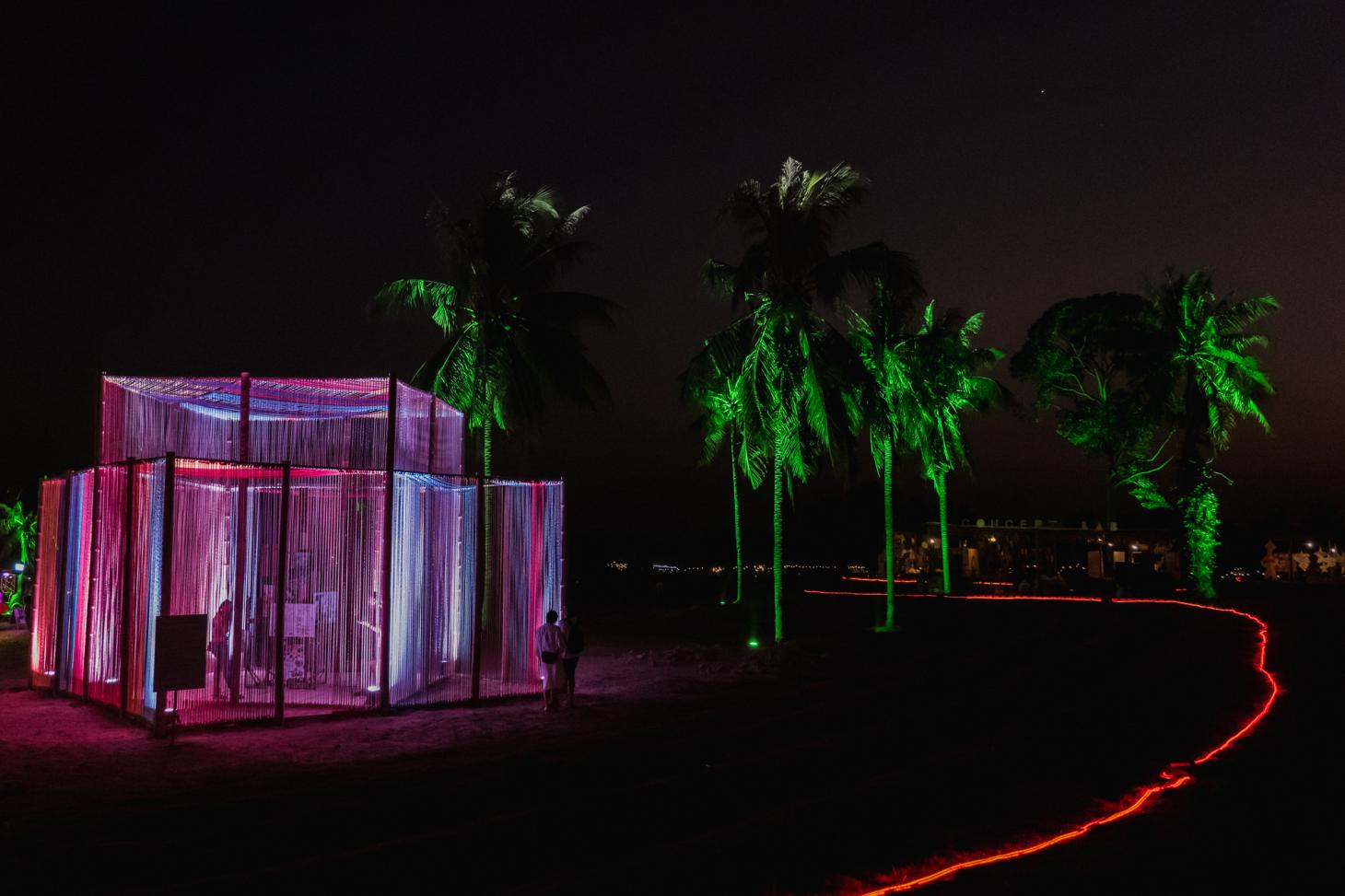 The Woven Pavilion by night