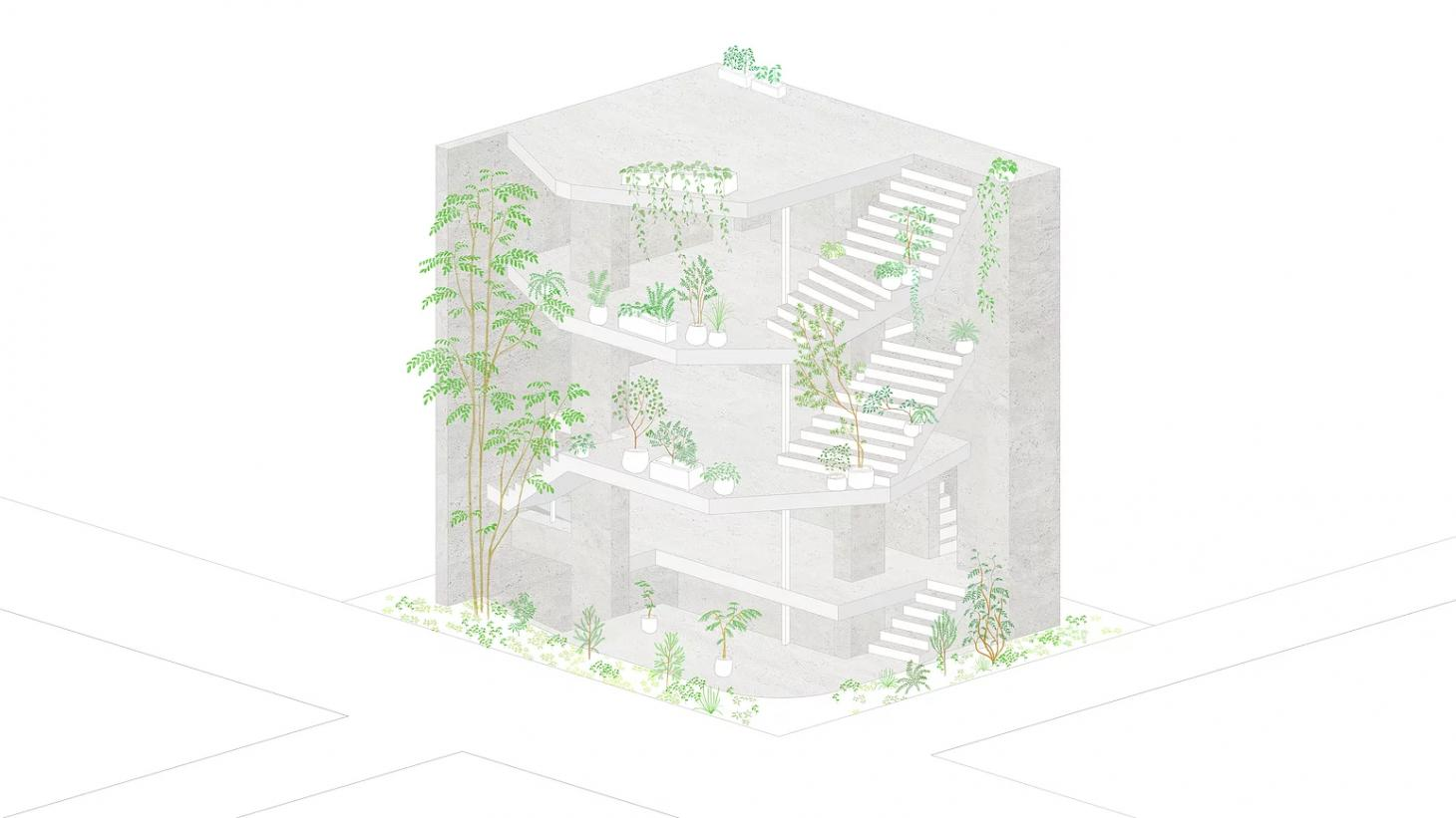 Japanese architecture drawing Tokyo house with pen plan and exposed spaces