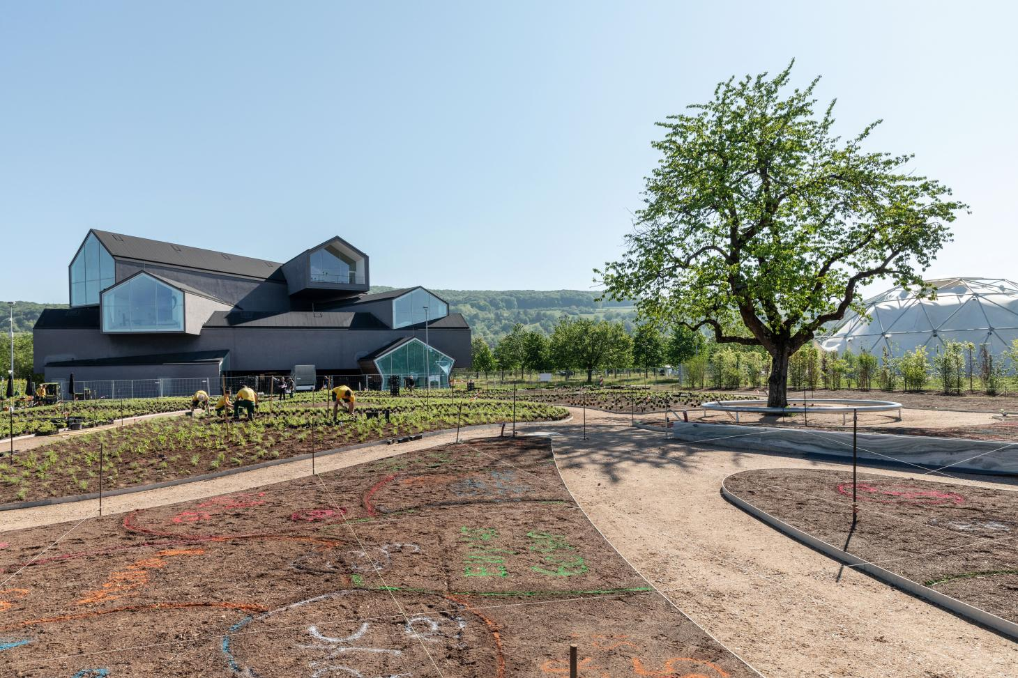 A work in progress shot of Piet Oudolf's garden for Vitra as it's being planted, with Vitra Haus visible in the background