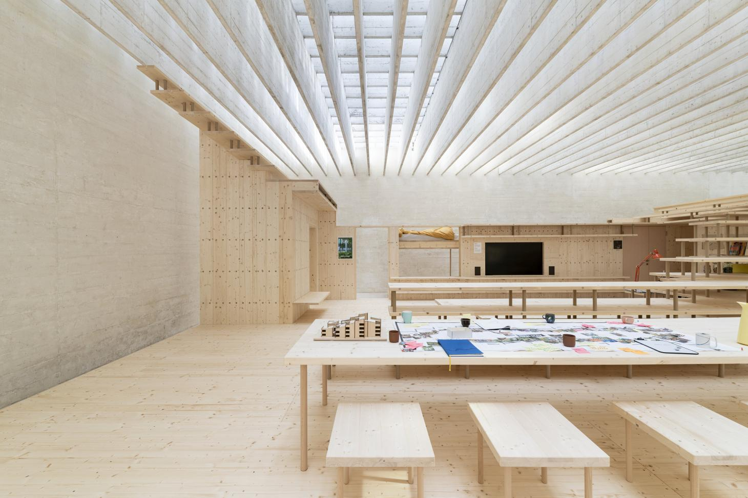 the nordic pavilion at the 2021 Venice architecture biennale houses a timber structure designed by Helen & Hard