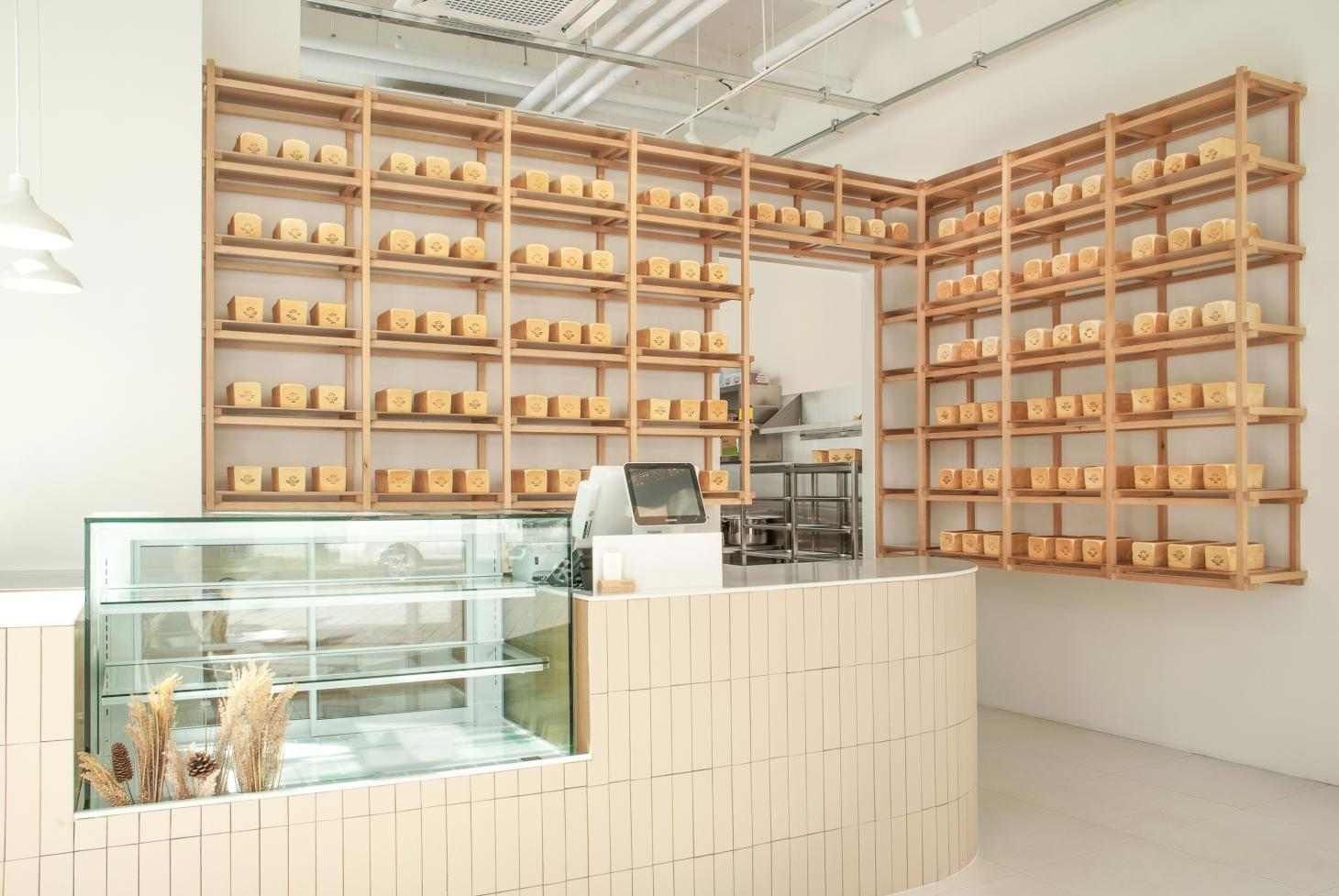 White bread loaves on display at Whitelier is a South Korean bakery