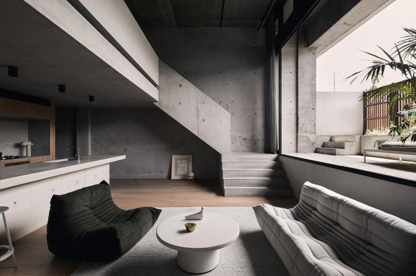 A concrete interior inside a Melbourne apartment
