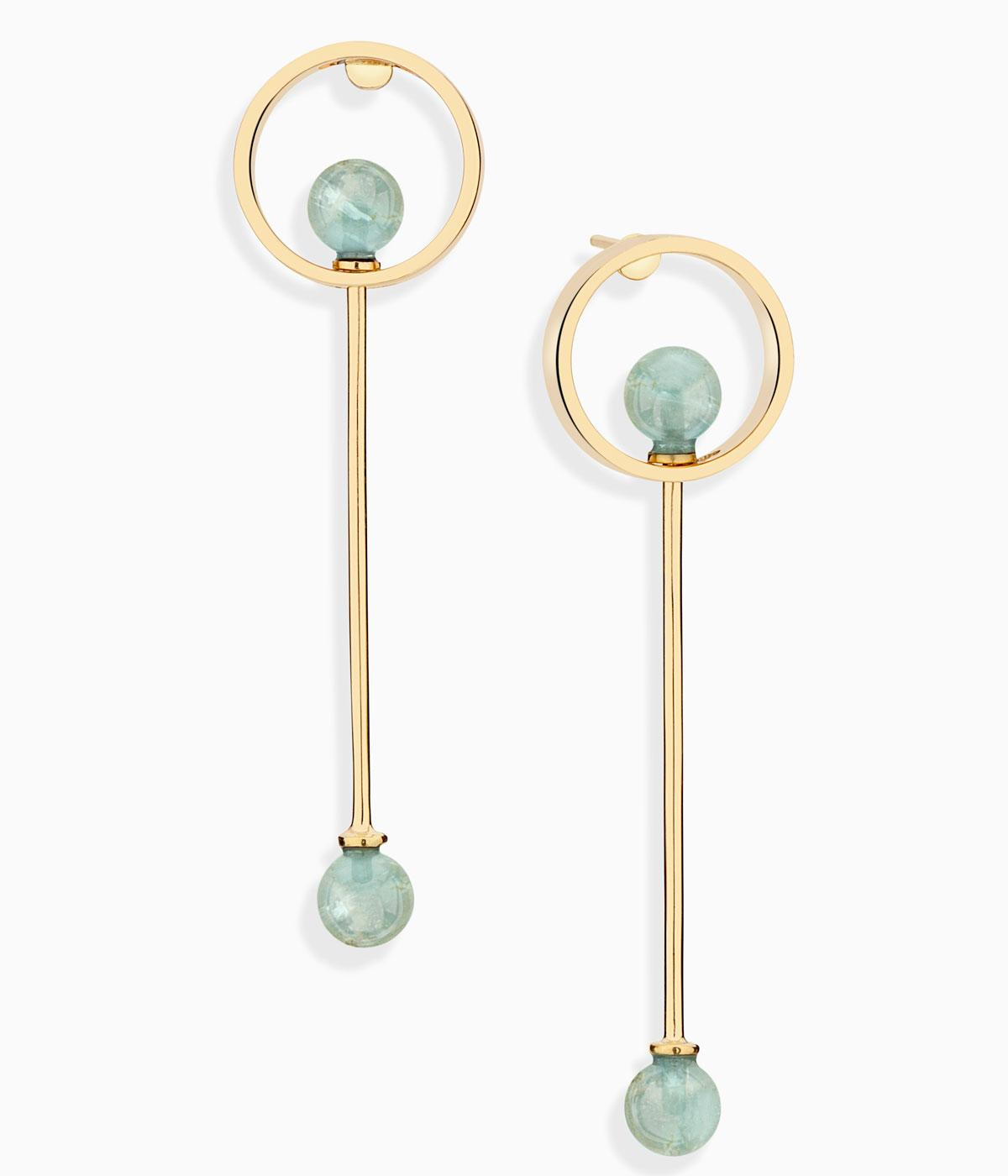Gold dangle earrings with aquamrine stones