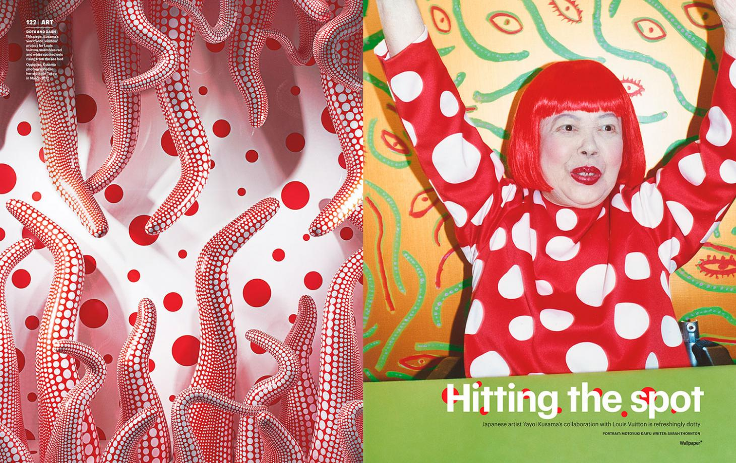 portrait of Yayoi Kusama and red and white polka dot work for Louis Vuttion
