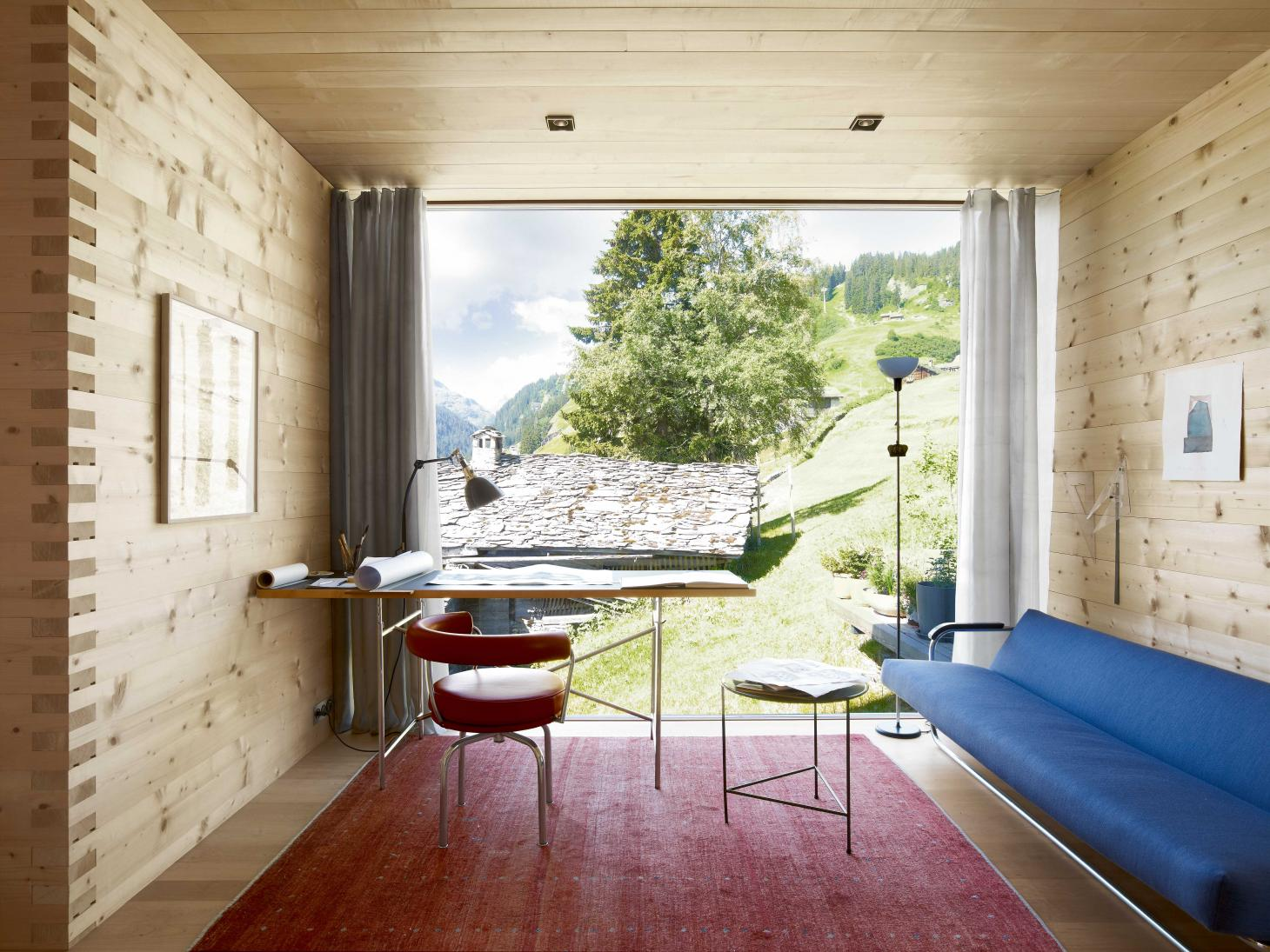Peter Zumthor sketch room at his Swiss Alps home