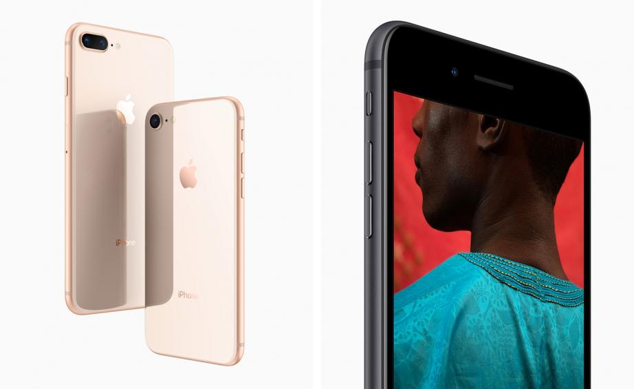 Left The IPhone 8 And Plus In A Gold Finish Right New Camera Includes Larger Faster Sensor Colour Filter Deeper Pixels
