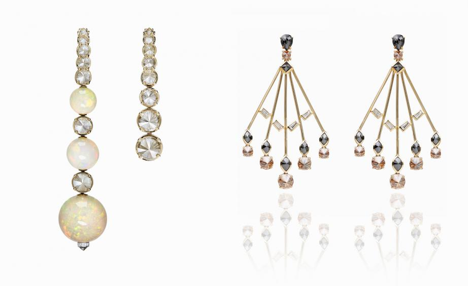 Fresh Ara Vartanian rose gold opal grey and white diamond hook earrings left and yellow gold black brown and white diamond earrings right