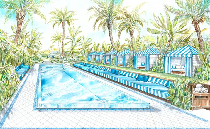 A Sketch Of The Pool And Cabanas At Soho Beach House Miami.