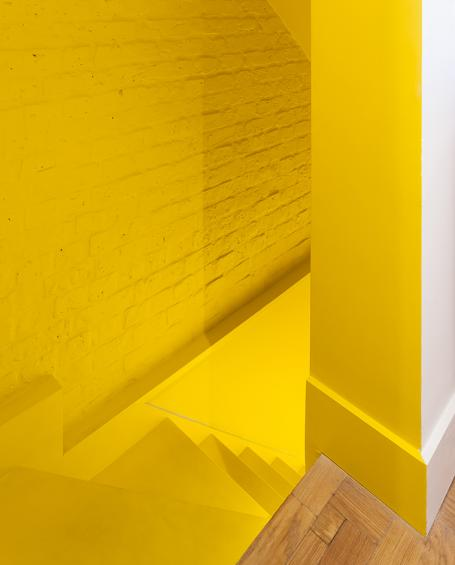 architecture yellow. yellow paint coats the entire stairway architecture