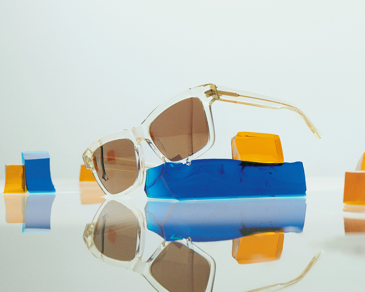 Colourful sunglasses in transparent acetate by Lindberg