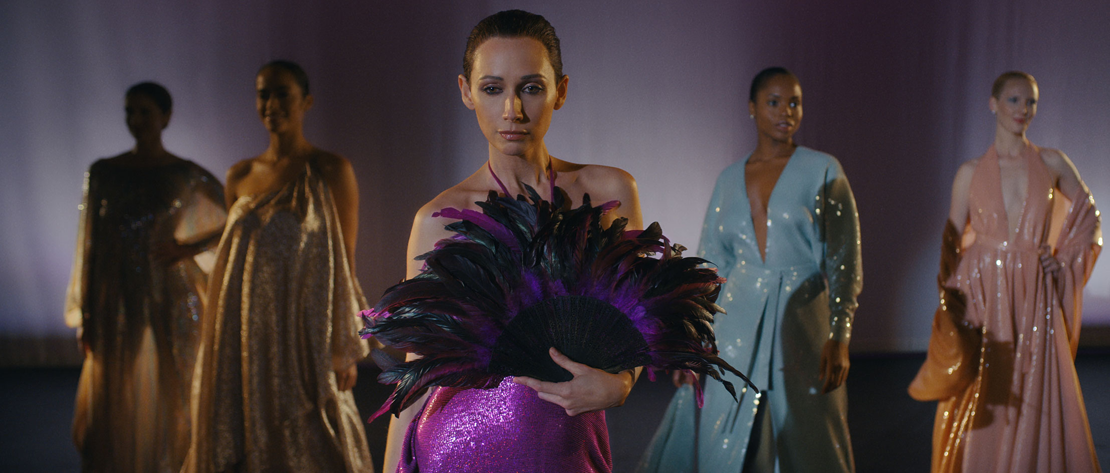 Netflix's Halston production still of the Palace of Versailles fashion show