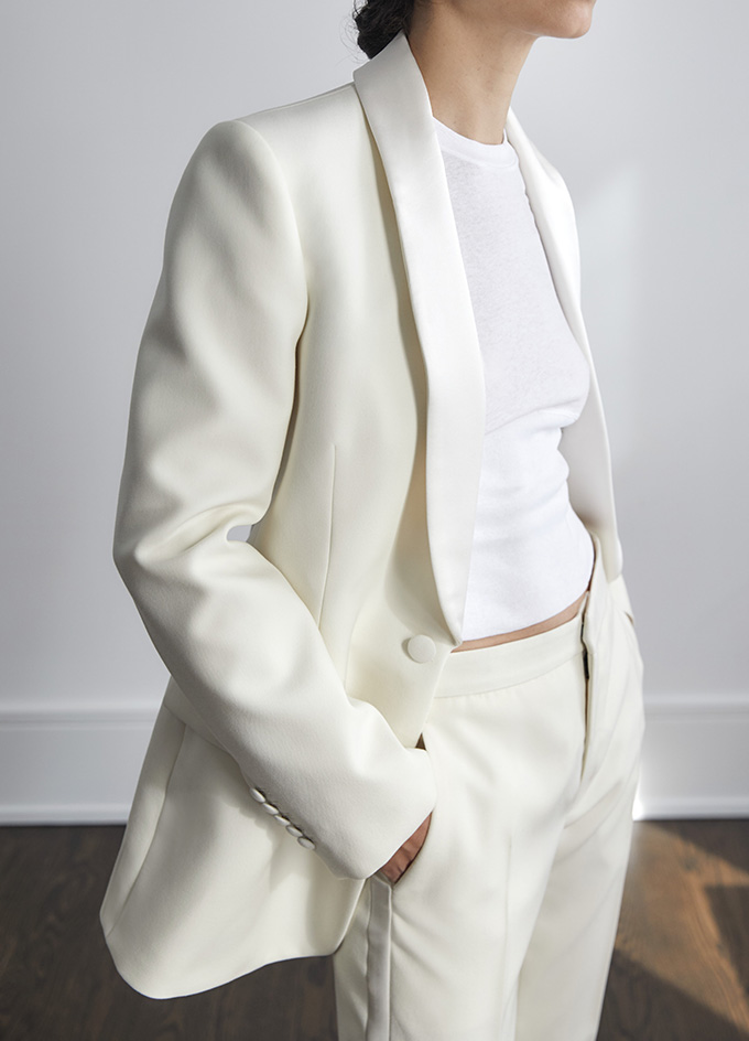 Wardrobe NYC Tailoring 5 collection white tuxedo