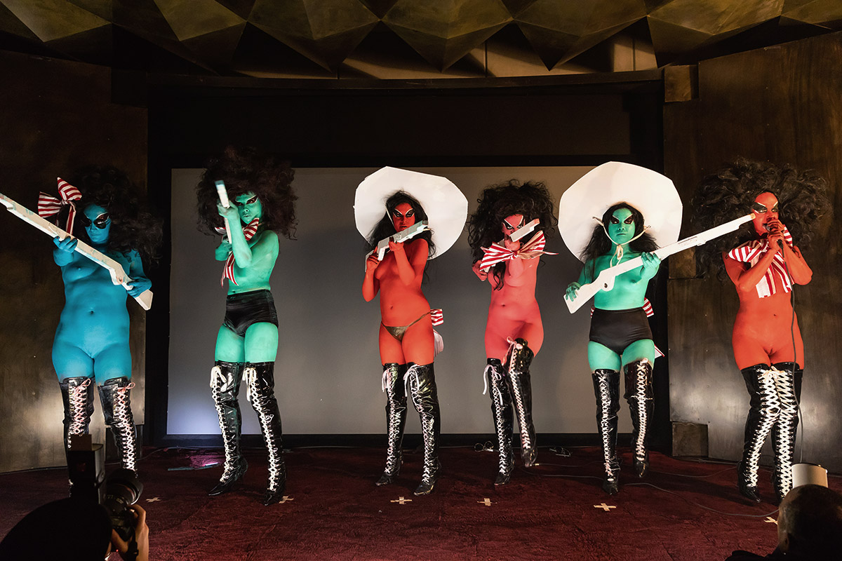 Watermill alumna Kembra Pfahler performing with her punk rock band The Voluptuous Horror of Karen Black at The Watermill Center Pre-Summer Party