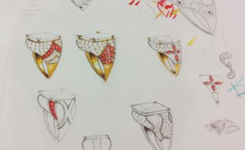 Sketches of ring designs at the Bulgari design studio in Rome