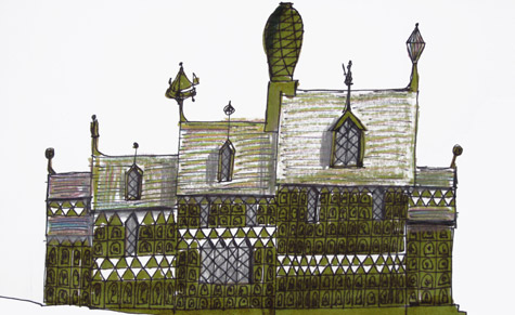 An exclusive sketch by Grayson Perry of the house he has designed with FAT architects