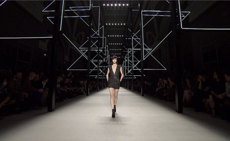 Video: Hedi Slimane's neon laser light S/S 2014 Saint Laurent Paris show