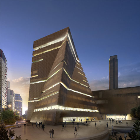 New Development of Tate Modern. Exterior view from the south at dusk ...