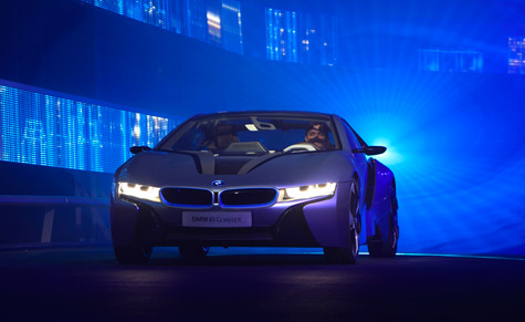 The BMW i8, a part-electric super sports car proposition developed from the 2009 Vision EfficientDynamics concept car