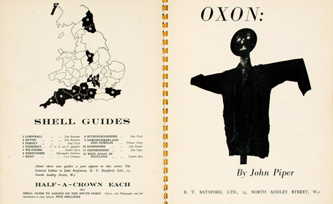 Title page of his Oxon, 1938, by John Piper, with an image of a scarecrow that acts as a surreal self portrait of the author