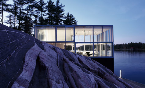 Photographer's studio over a boat house on Stoney Lake by gh3 architects. Photography: Larry Williams