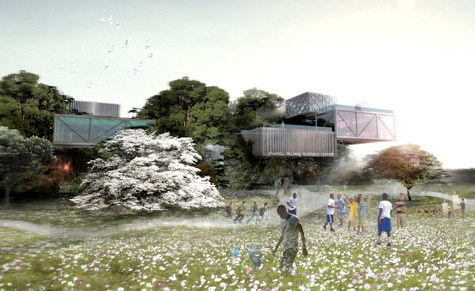 Chad Oppenheim's proposed design for the Pharrell Williams Youth Center takes the concept of a tree house to the extreme