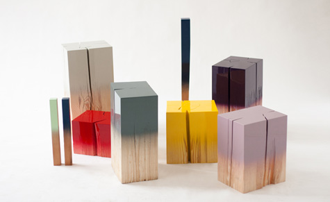 'Trift' pine wood trunks by German designer Judith Seng