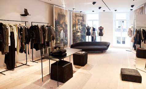 The womenswear floor of Acne Studio, featuring illustrations of Johansson's office by Jeremiah Goodman