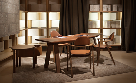 Hermès launched its first contemporary furniture collection in a pavilion by Shigeru Ban