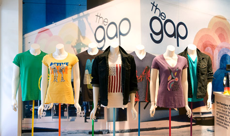 A mannequin shot featuring a selection from Gap's celebratory 1969 range