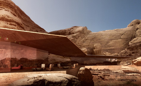 A render of Reserve Lodge - one of the Desert Lodges development by Chad Oppenheim in Jordan