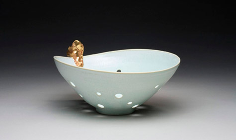 Ceramic 'Green Bowl-Gold, Hole'. Designed and made by Jin Jang, Korea, 2009.