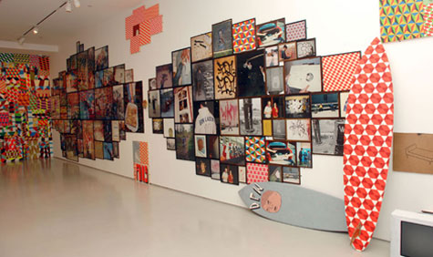 An in-situ view of work by both Barry McGee and Phil Frost for Prism's inaugural show