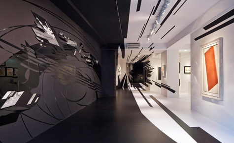 Black and white wall graphics by Zaha Hadid at Galerie Gmurzynska