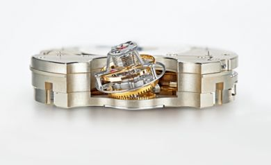 Close-up of the tourbillon movement of Jaeger-LeCoultre's Duomètre á Sphérotourbillon, from SIHH 2012